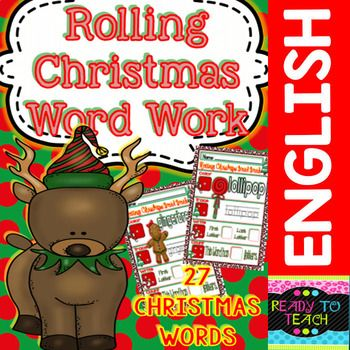 Rolling Christmas Word Work for Kinders/3rd Grade #freereadingincsites