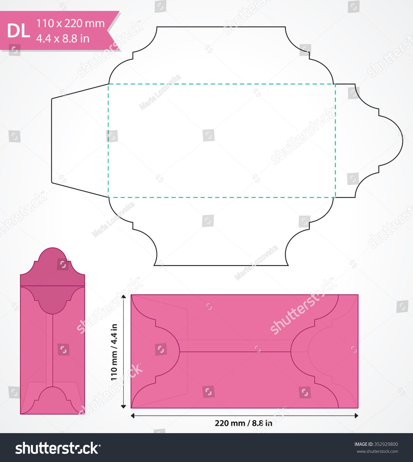 Die cut vector envelope template Standard DL size envelope to hold