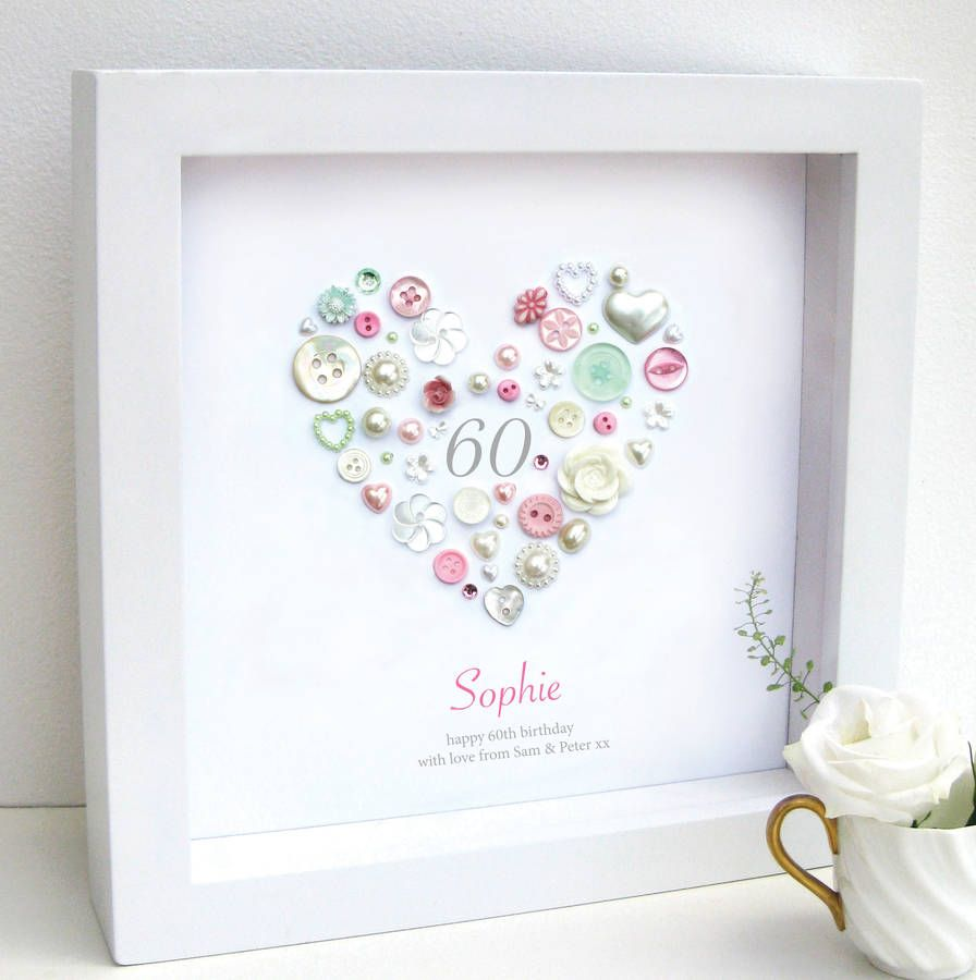 Personalised 60th birthday button heart framed art dimples personalised 60th birthday button artwork by sweet dimple notonthehighstreet bookmarktalkfo Choice Image