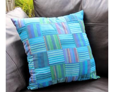 The completed Woven Blues Simple Cushion