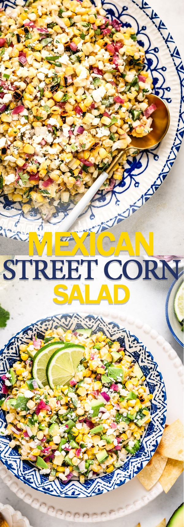 This Mexican Street Corn Salad recipe aka Esquites is tangy spicy and deliciously creamy Whether you cook the corn on the grill or in a skillet this easy Mexican corn sal...