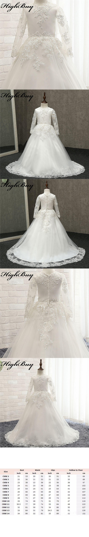 Highbuy new lovely ball gown lace flower girl dresses long sleeves