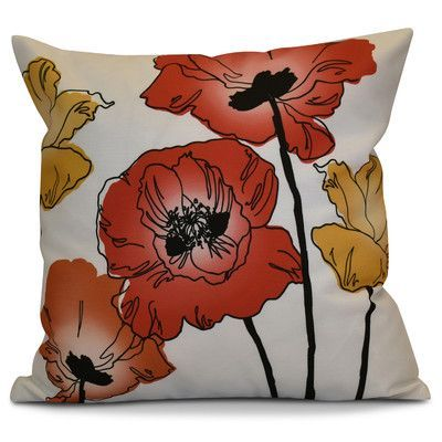 E By Design Flora And Fauna Poppies Floral Throw Pillow Products Impressive Poppy Floral Decorative Pillows