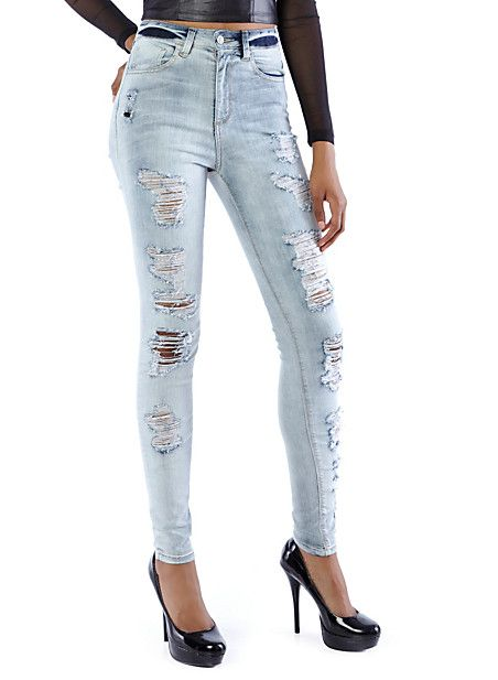 Sand Blasted Distressed Pencil Jeans