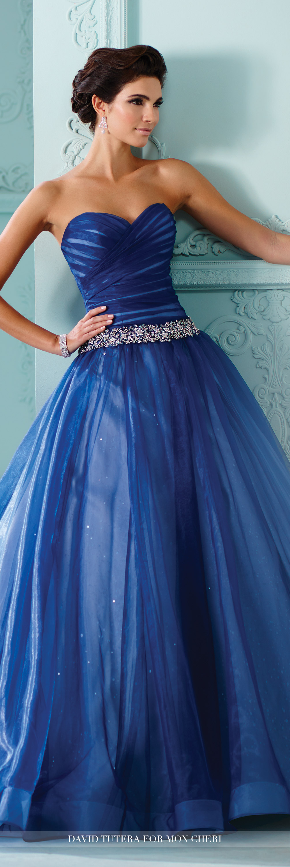 Strapless Sequined Tulle Ruched Bodice Wedding Dress- 216257 Indigo ...