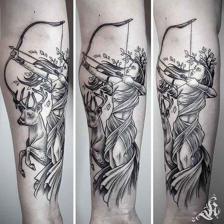 Artemis Tattoo on Arm