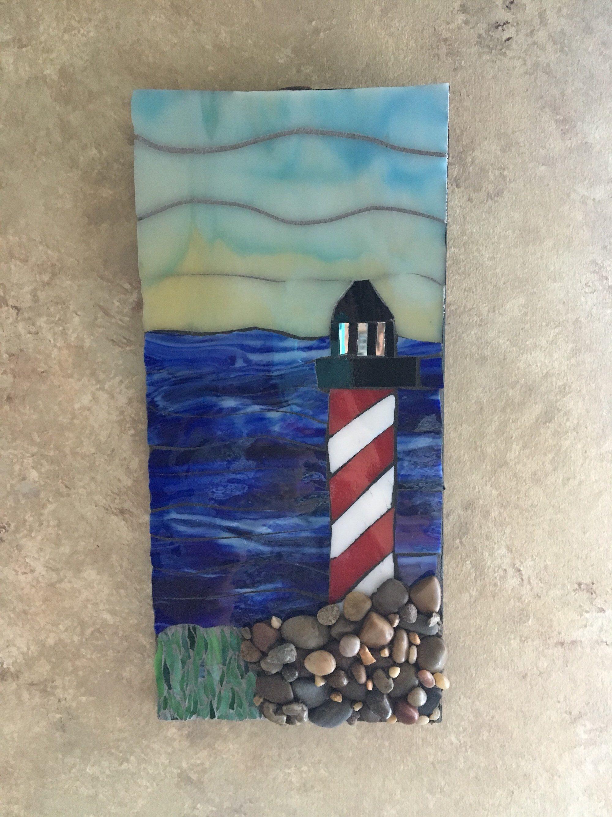 Stained Glass Mosaic Lighthouse Wall Art Beach Decor Wall Art