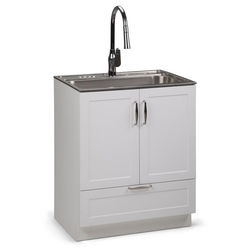 Simpli Home Reed 28 In W X 19 In D In X 35 In H Laundry Cabinet With Pull Out Faucet And Stainless Steel Laundry Utility Sink White In 2020 Sink Utility Sink Laundry Cabinets