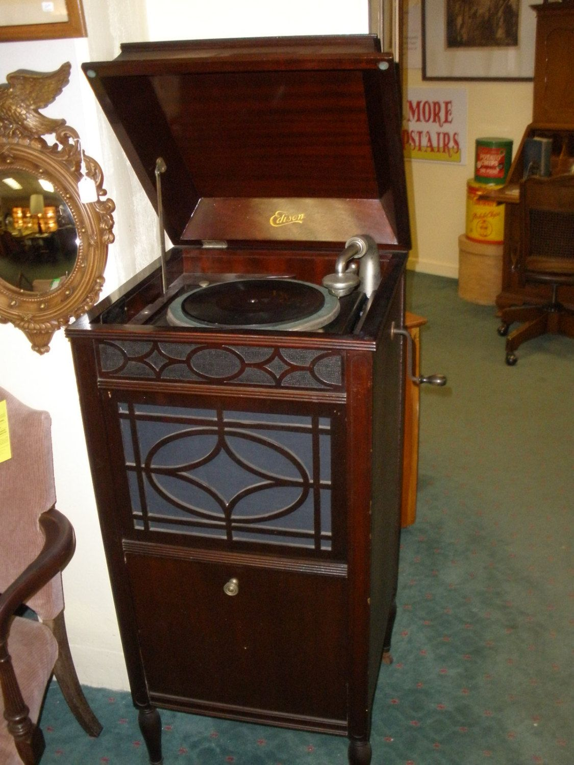 Antique Edison C-150 Diamond Disc wind up Phonograph in working ...