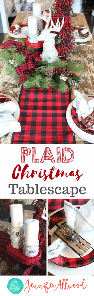 Buffalo Check Tablescape For Less Than 100 From Hobby Lobby Christmas Tablescapes Holiday Centerpieces Holiday