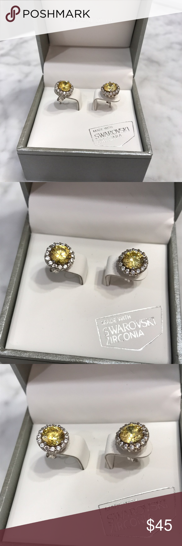 Kiera Couture Sterling Silver Swarovski Earrings Zirconia Stones Settings Canary Diamond Look With Halos Around