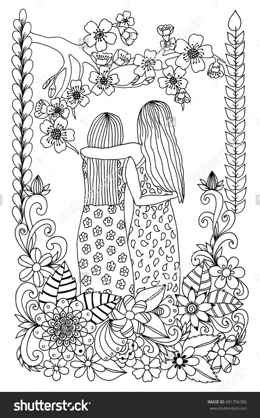Zentangle Girlfriend At Sakura Flowers Doodle Drawing Coloring Anti Stress For Adults 481706386 Shutterstock Coloring Pages Free Coloring Pages Zen Colors