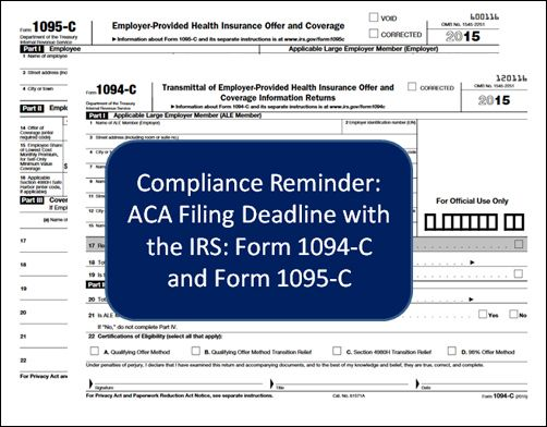 ACA Compliance Reminder for Employers Filing Deadline with the IRS - Fmla Form