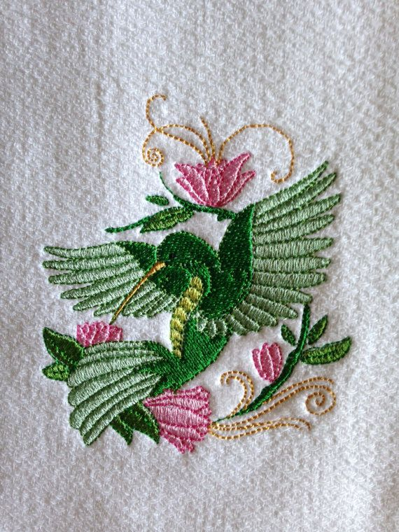 Embroidered Hummingbird Kitchen Towel Green By Luvhoourdesigns Kitchen Towels Pinterest