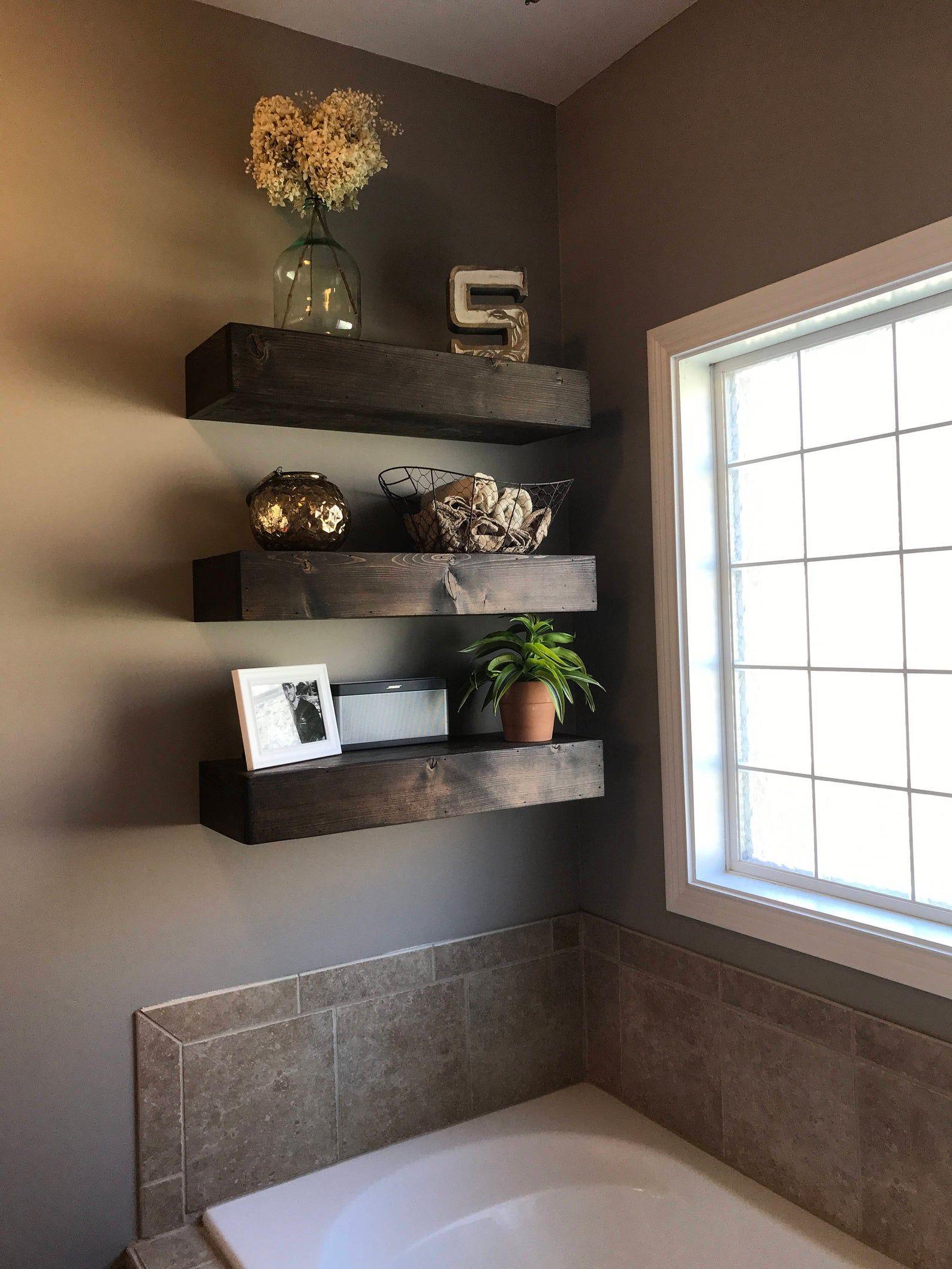 Wood floating shelf, floating shelves, rustic shelf ...