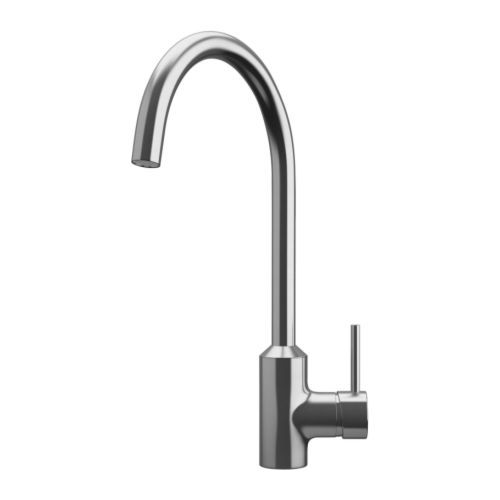 RINGSKÄR Single-lever kitchen mixer tap, stainless steel colour - stainless steel colour £80