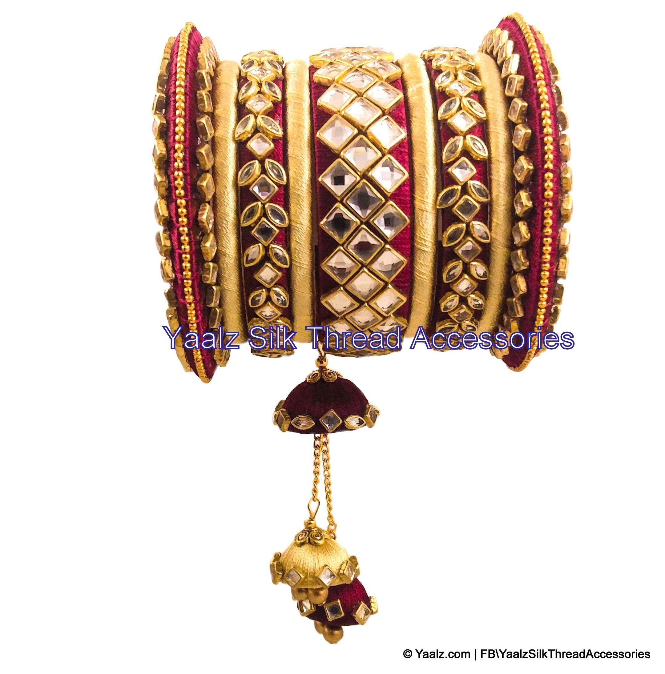 1fe730231 Yaalz Silk Thread Heavy Kundan Stone Bridal Bangle Set In Maroon & Cream  Colors