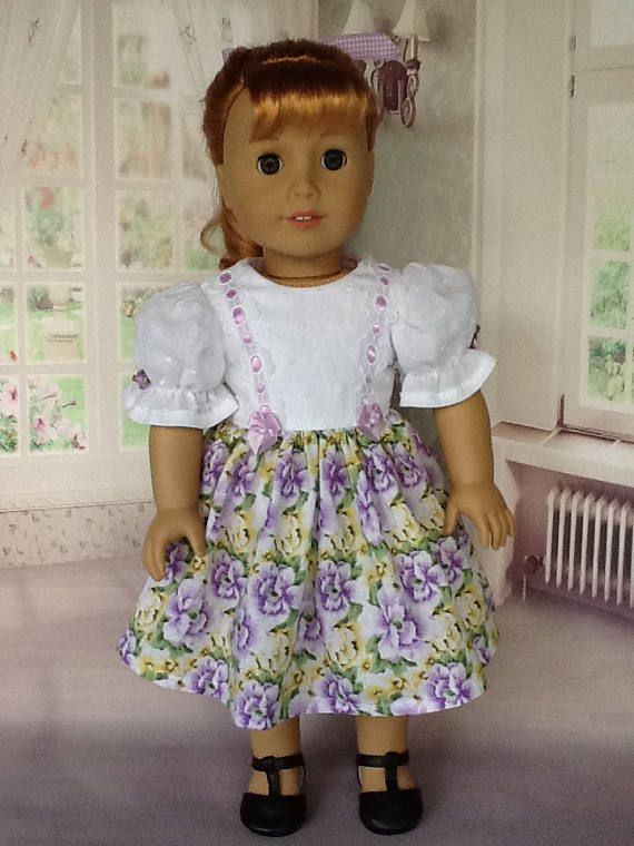 18 inch doll dress. Fits American Girl Dolls. One of a kind. Pansy ...