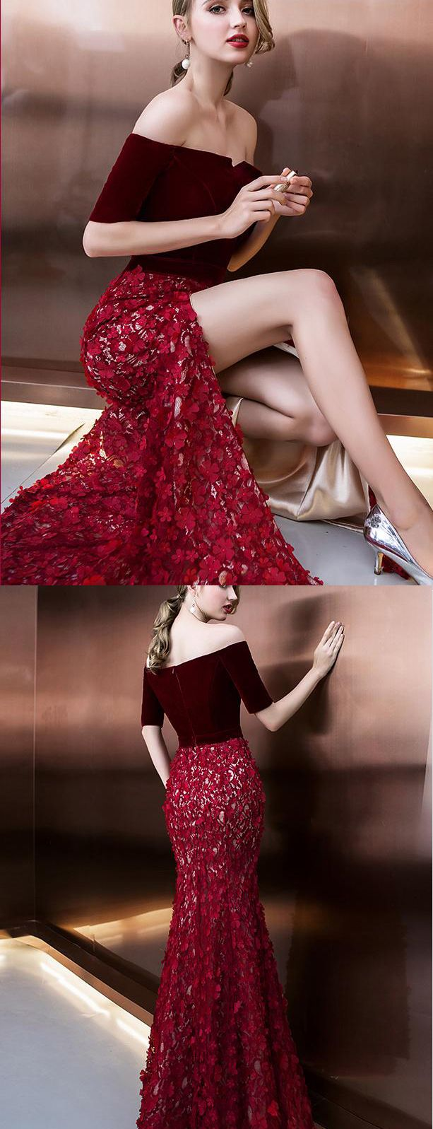 Burgundy off shoulder half sleeve long evening dress with side slit