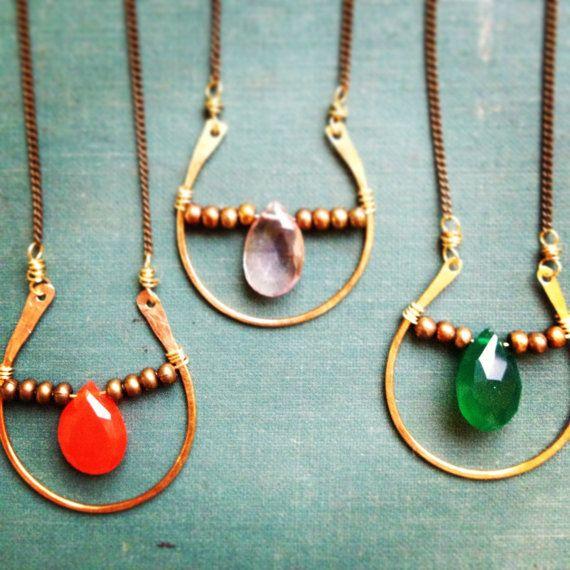 Brass Horseshoe necklace - faceted gemstone - carnelian - ametrine - boho - rustic