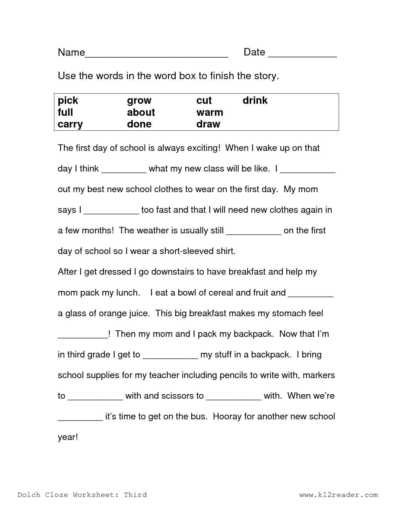 Cloze Passages For 3rd Grade