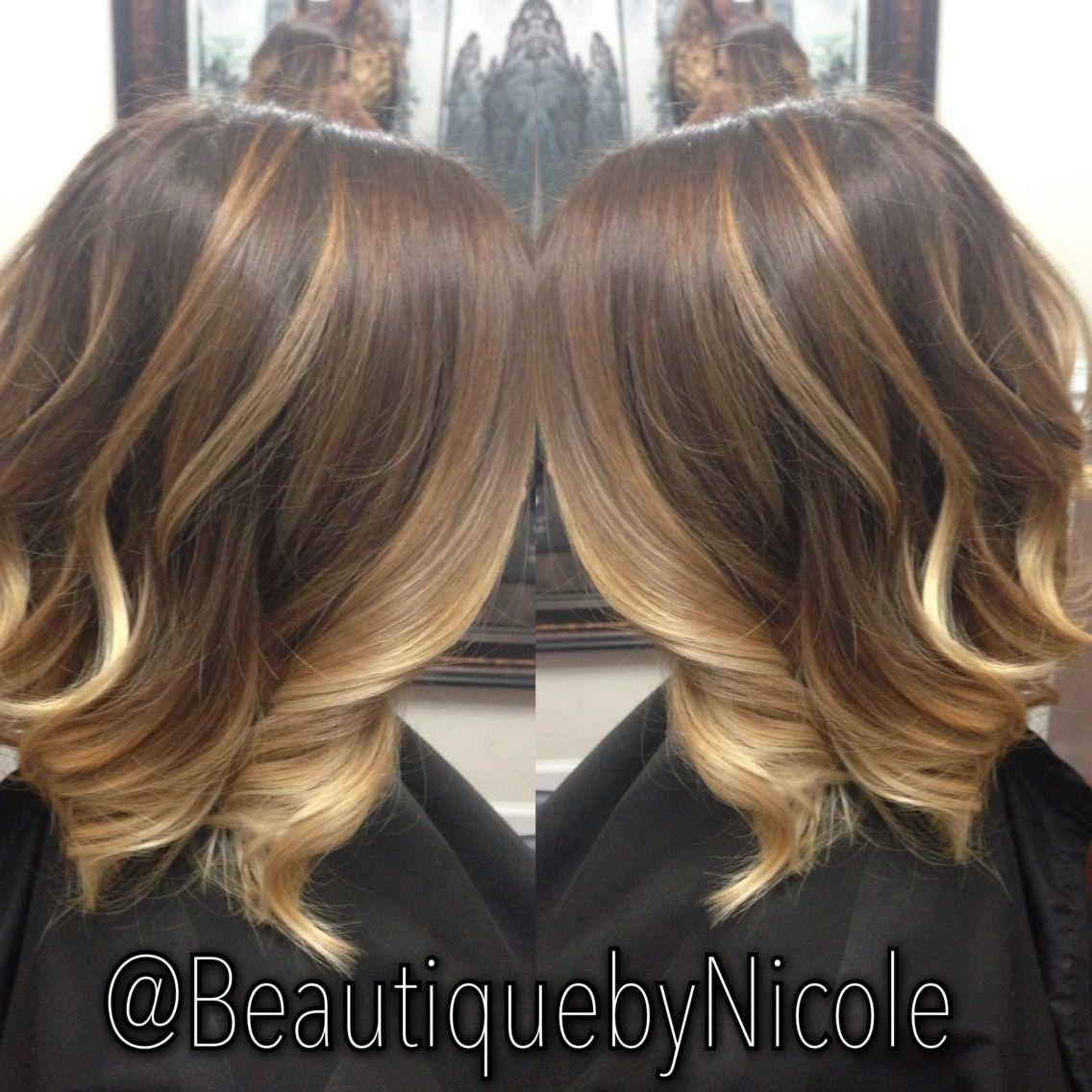 caramel ombre balayage on long bob lob balayage ombre longbob hair and nails. Black Bedroom Furniture Sets. Home Design Ideas