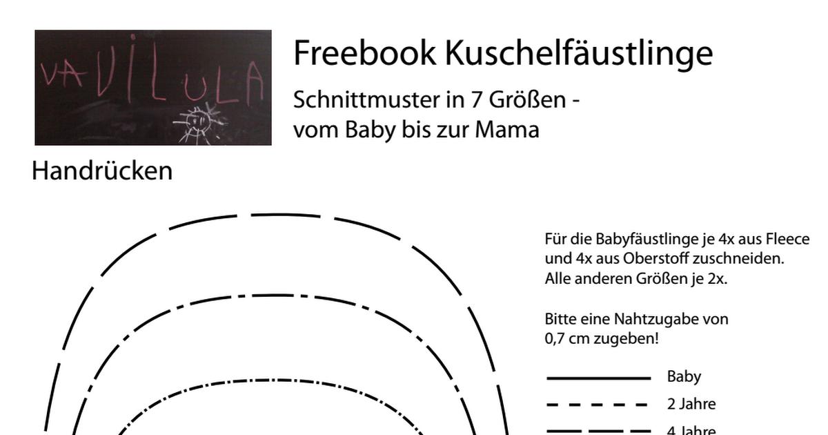 Vavilula Kuschelfäustlinge Schnittmuster.pdf | basteln | Pinterest ...