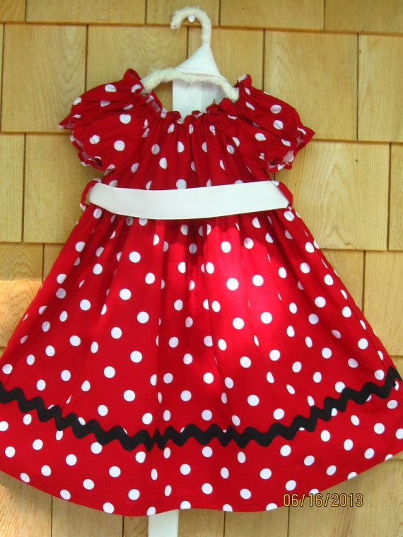 edb5705257b Red White Polka Dot Minnie Toddler Girl Dress size 14 by sugartogs ...