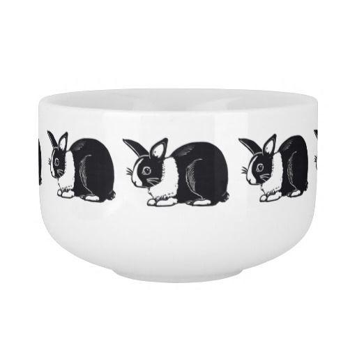 Black and White Dutch Rabbits Soup Mug; ArtisanAbigail at Zazzle