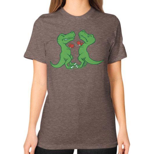 T Rex Boxing Unisex T-Shirt (on woman)