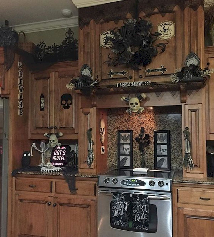 46 Gorgeous Halloween Kitchen Cabinets Decor Ideas 16 Halloween Kitchen Halloween Kitchen Decor Halloween Decorations Indoor