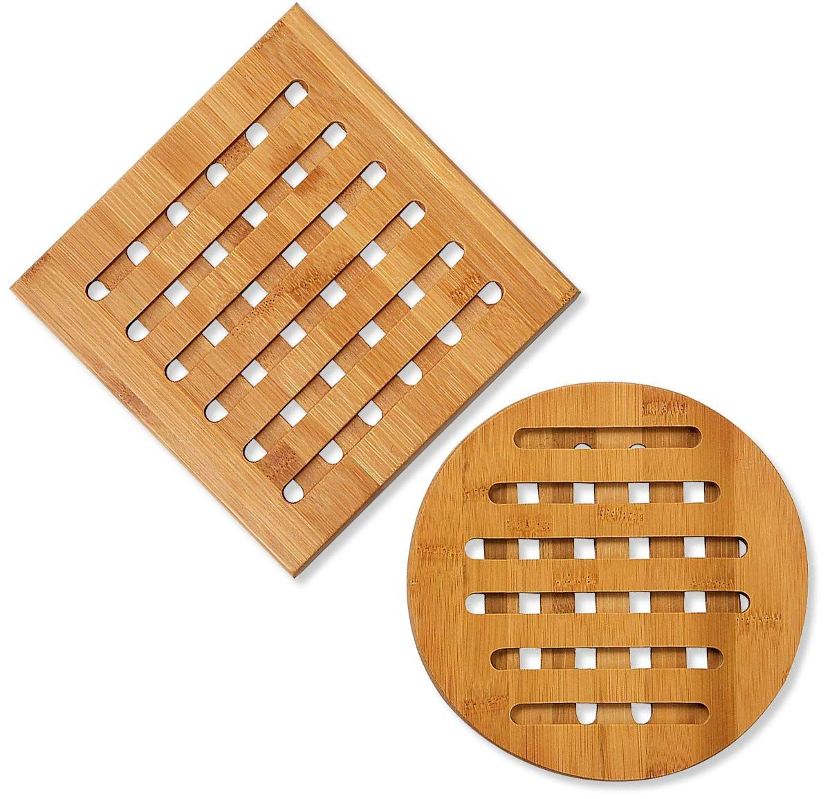 Bamboo Trivet 2pack Wood Trivet Hot Pads Plate Heat Resistant Coaster For Hot Dishes Pots Pans Protection For Dining Ta Wood Trivets Hot Pads Kitchen Hot Pads