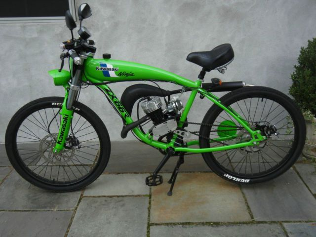 Green Custom Kawasaki Tribute Motorized Bicycle Moped Two Stroke