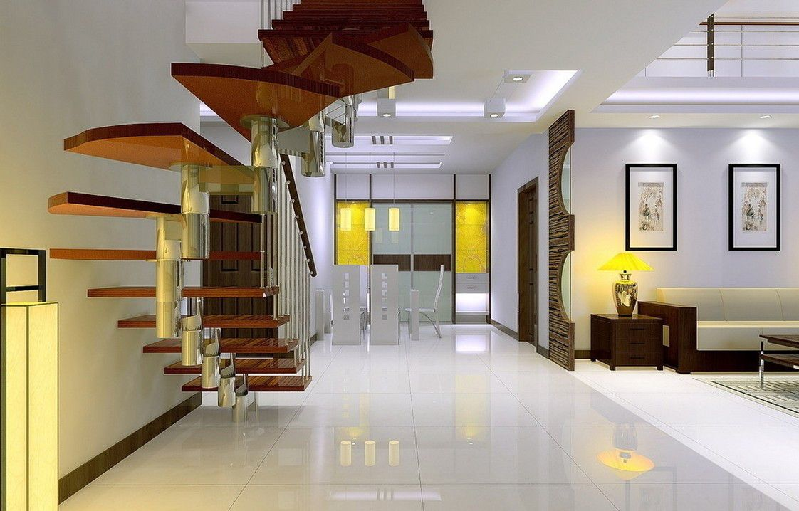 Illuminated Staircase Designs For Duplex House Villa Decoration