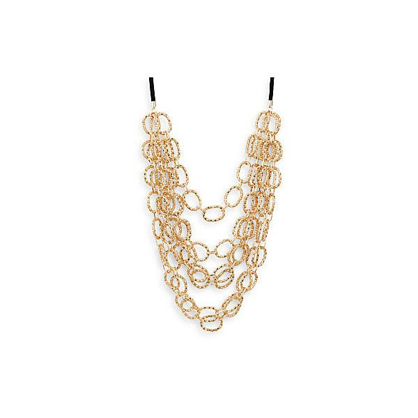 Natasha Oval Link Multi-Chain Necklace ($30) ❤ liked on Polyvore featuring jewelry, necklaces, gold, adjustable cord necklace, 14k jewelry, 14k necklace, black jewelry and multiple chain necklace