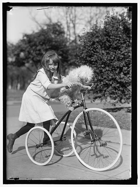 [MARYE, HELEN] bicycle, bike, pet, dog, girl, tricycle