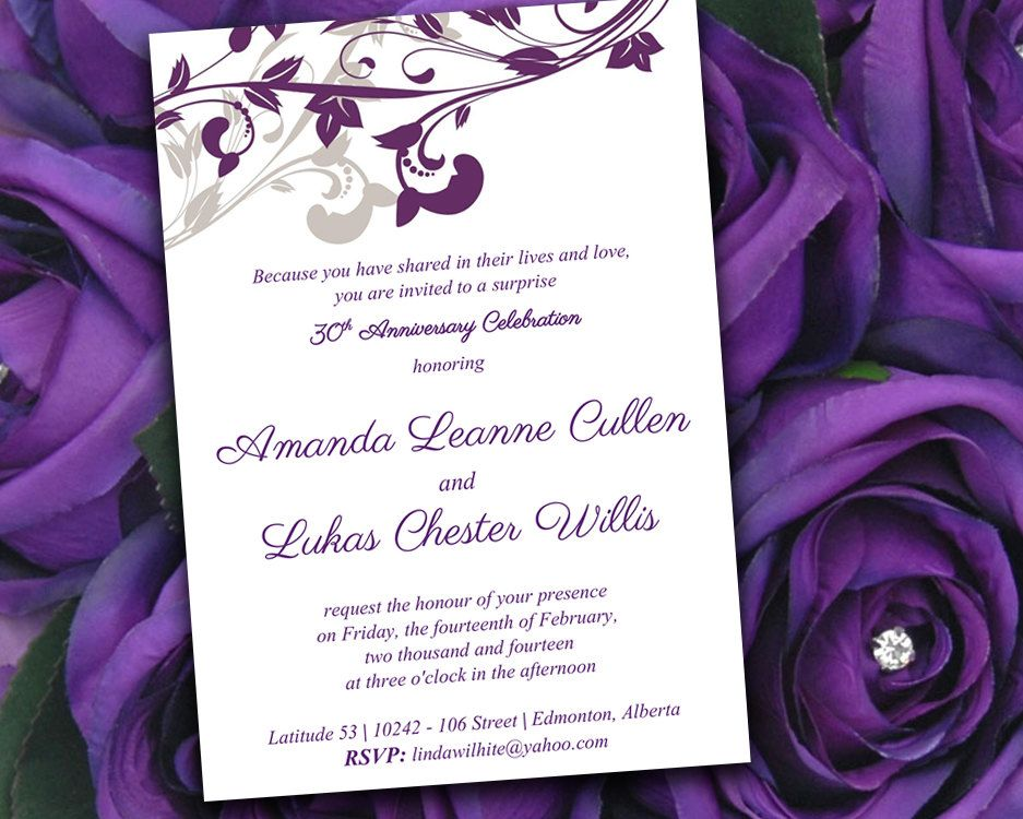 Whimsical vines anniversary party invitation microsoft word template whimsical vines anniversary party invitation microsoft word template 5x7 eggplant purple silver anniversary invitation printable stopboris Images