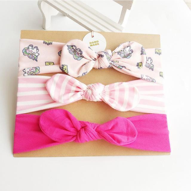 3pcs//Set Toddler Baby Girls Headband Bow Ribbon Elastic Hair Band Accessory