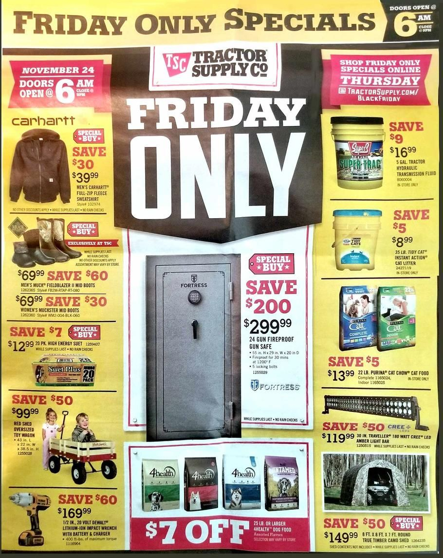 Tractor Supply Black Friday 2017 Ad Scan Deals And Sales Coupons Tractor Supply Will Be Closed This Year On Th Black Friday Black Friday Ads Tractor Supplies