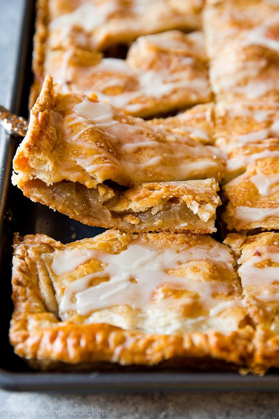 You'll never want to make a traditional pie again! This apple slab pie is a crowd-pleaser. Complete with maple icing-- full step-by-step recipe on sallysbakingaddiction.com
