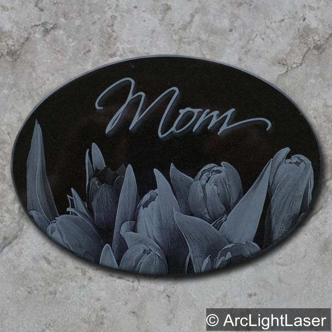 A Beautifully Engraved Black Marble Plaque For Your Mom Custom Designs Available We Have So Many Different Shapes And Laser Engraving Pet Marker Black Marble