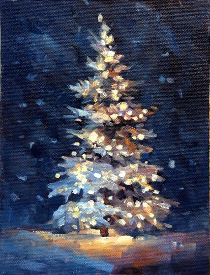 Acrylic art christmas scene christmas tree beautiful Christmas card scenes to paint