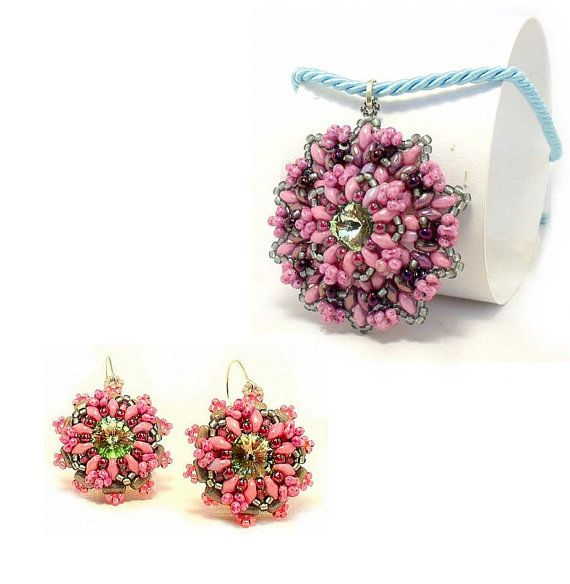SPECIAL EDITION OFFER 'Pink Delight' Set, pendant and earrings pattern