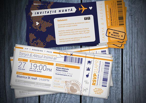 Wedding Invitation - Custom Flight Ticket on Behance Wedding - plane ticket invitation template