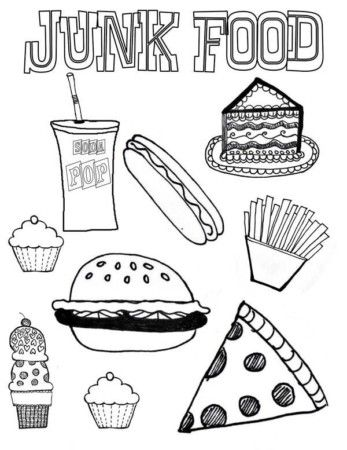 Unhealthy Foods For Kids Coloring Pages With Images Food