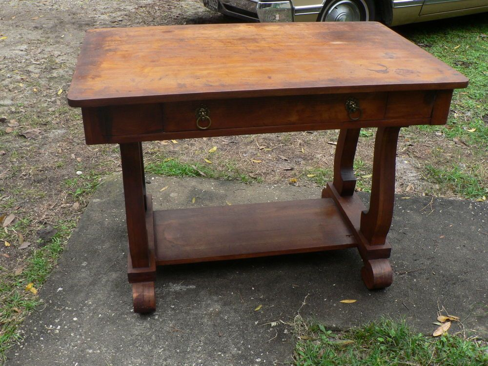 Antique Vintage Library Desk Table Primitive Harp Base with Drawer  #MissionArtsCrafts - Antique Vintage Library Desk Table Primitive Harp Base With Drawer
