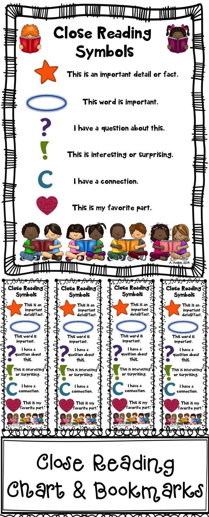 Close Reading Symbols Charts Bookmarks Bundle Christmas Winter Close Reading Lessons Close Reading Symbols Reading Lessons