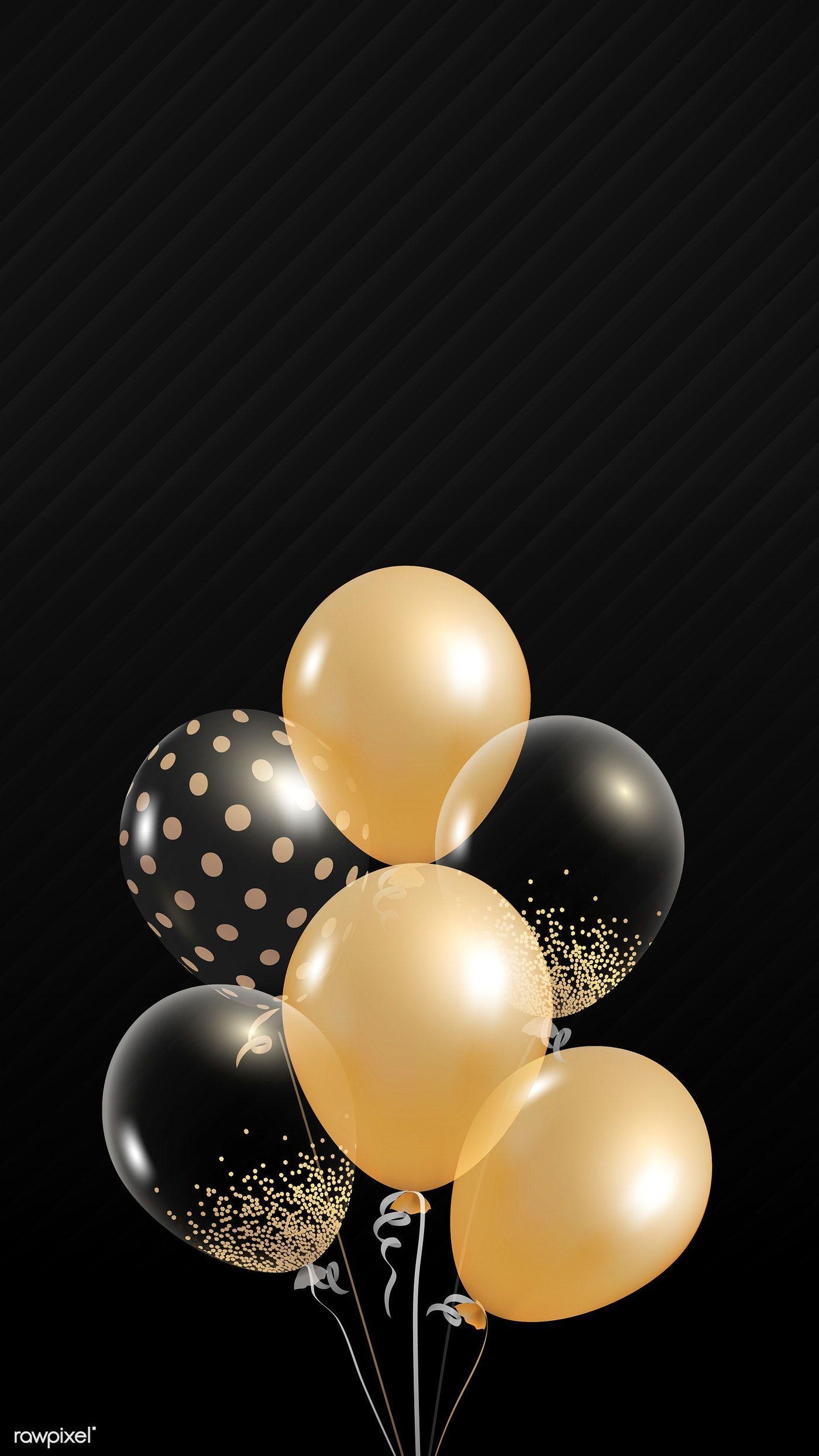 Elegant Balloons Design Vector On Black Background Free Image By