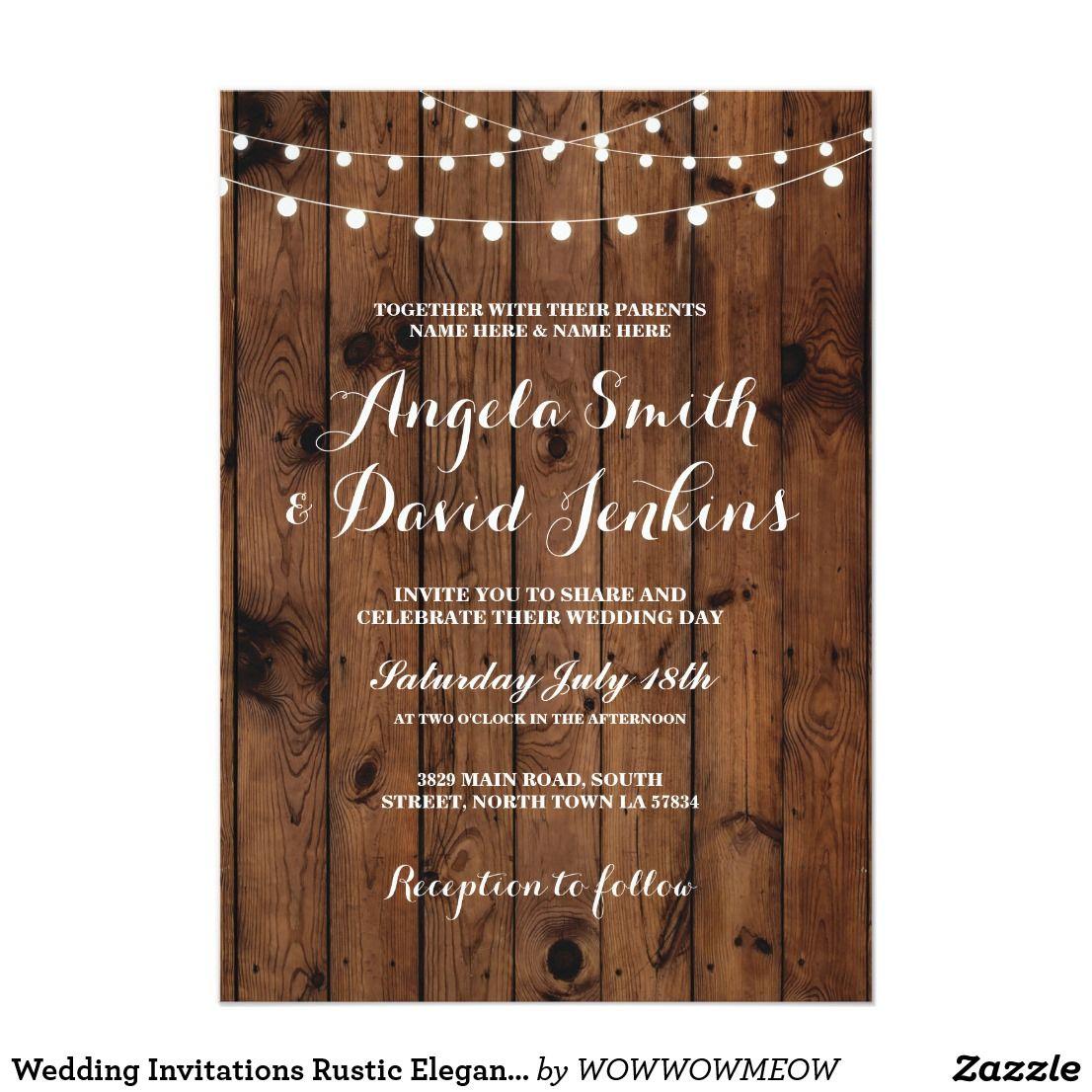 Wedding Invitations Rustic Elegant Wood Lights Weddings