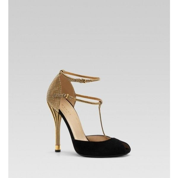 Gucci 'ophelie' high heel open-toe t-strap pump black suede ❤ liked on Polyvore